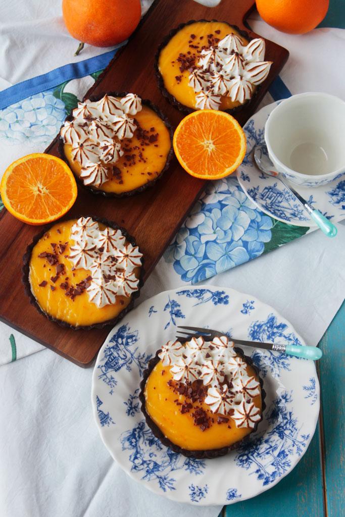Tartaletas de naranja y chocolate