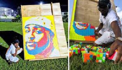 Nigerian visual artist creates a portrait of Davido using 800 pieces of Rubik's cubes