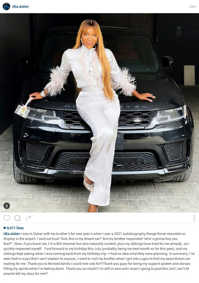 TV Host, Idia Aisien gets a 2021 Autobiography Range Rover as birthday gift from her family
