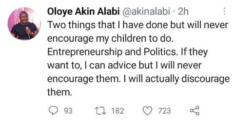 I Will Not Allow My Children Join Politics - Lawmaker, Akin Alabi