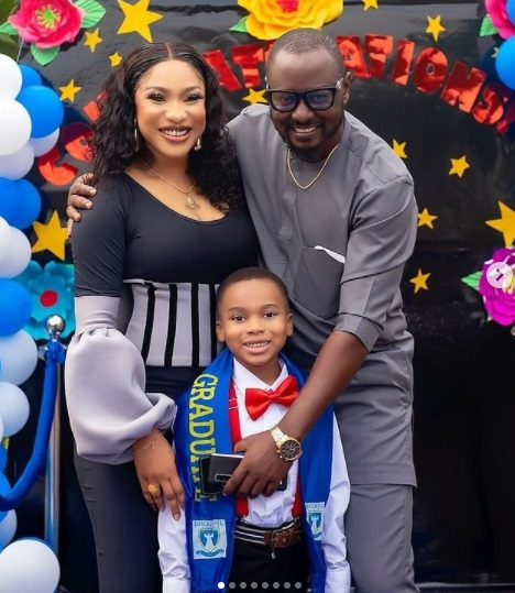"""''Oko Mi''! Tonto Dikeh Continues To Share Photos Of Herself And New Man As She Sings His Praises Tonto Dikeh has continued to share photos of herself and her new man, at her son's graduation as she continues to sing his praises. The actress who already shared a video of them at her son's graduation just took to social media again to share some photos and praised her new man for standing by she and her son. Sharing the photos, the actress wrote; DOING THIS FOR YEARS WITHOUT A MAN IN MY LIFE WAS BECOMING MY NORM AND THAT OF MY SONS' . @kpokpogri YOU CAN'T DESCRIBE THE EMOTIONS THAT RUN THROUGH MY MIND AS YOU WALKED WITH ME TO CHANGE THIS NARRATIVE THAT WAS BECOMING MY NORM.... GOD HONOR YOU """"OKO MI' . . . INDEED HEAVEN REWROTE MY STORY AND MADE IT EVEN BETTER, GOD HAS ANSWERED MY PRAYERS.. ITS A BIG CONGRATULATIONS TO OUR BABY @kingandre_dikeh . INDEED GOD HAS DONE IT MY BOY.... . It's a rainy CONGRATULATION Graduation in Gods Ordained (OUR) Family, One graduation down 2more to go.."""