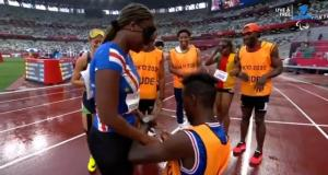 Visually impaired sprinter gets proposed to at Tokyo Paralympics