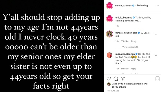 I am not 44, not even 40. Eniola badmus blows hot about age issue again