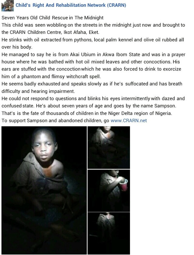 7-year old boy accused of witchcraft rescued in Akwa Ibom
