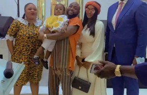 Davido and Chioma attend church with their son, Ifeanyi Adeleke