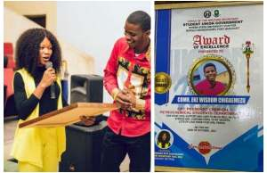 Rivers State University student, gives boyfriend award for caring and loving her [Photos]