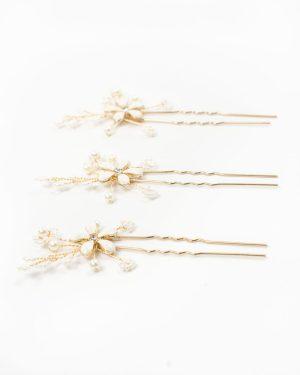 3 épingles à cheveux mariage avec fleurs métal