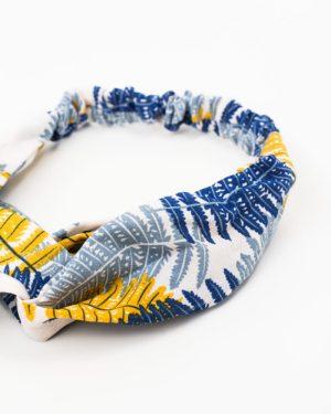 bandeau cheveux femme motif tropical bleu