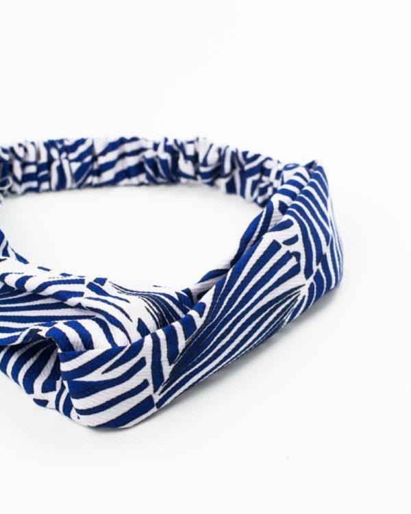 bandeau cheveux femme rayé bleu et blanc