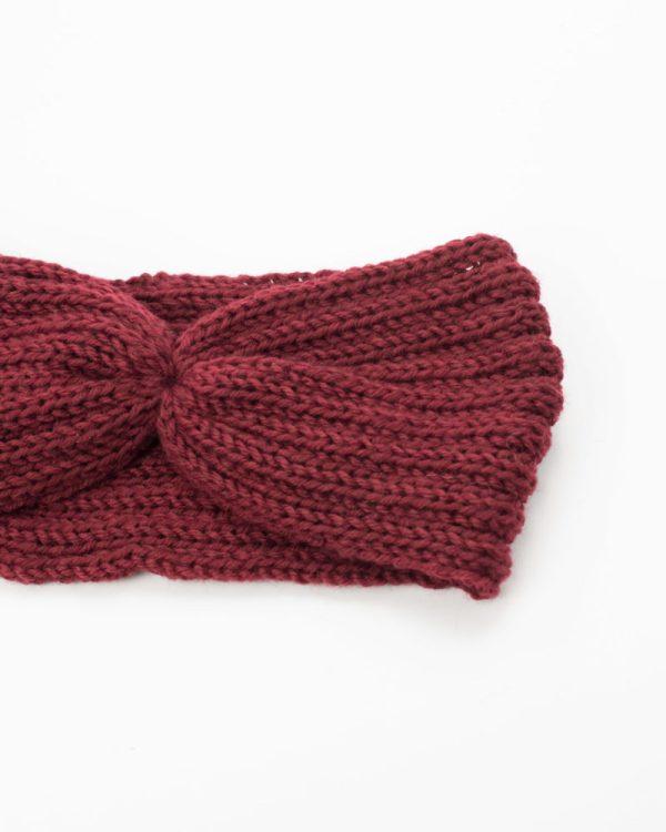 bandeau hiver femme rouge bordeaux
