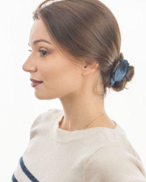 chouchou cheveux velours bleu canard pour femme
