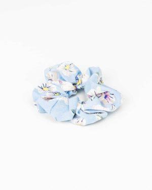 Chouchou femme bleu pastel à fleurs blanches