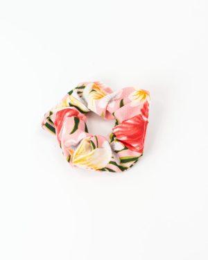 Chouchou femme rose à fleurs variées