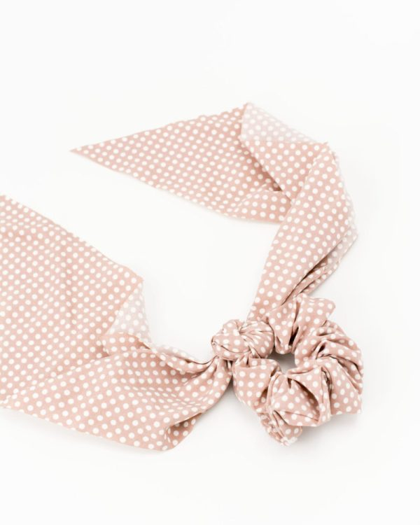 Chouchou foulard rose à points blancs