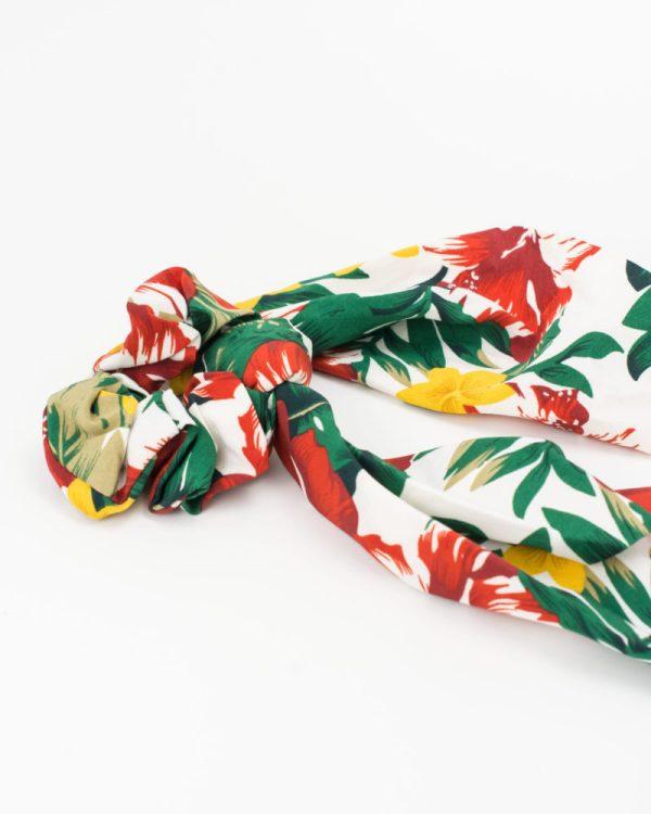 Chouchou foulard satin à fleurs hibiscus 2