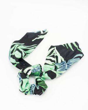 Chouchou foulard satin à motif tropical
