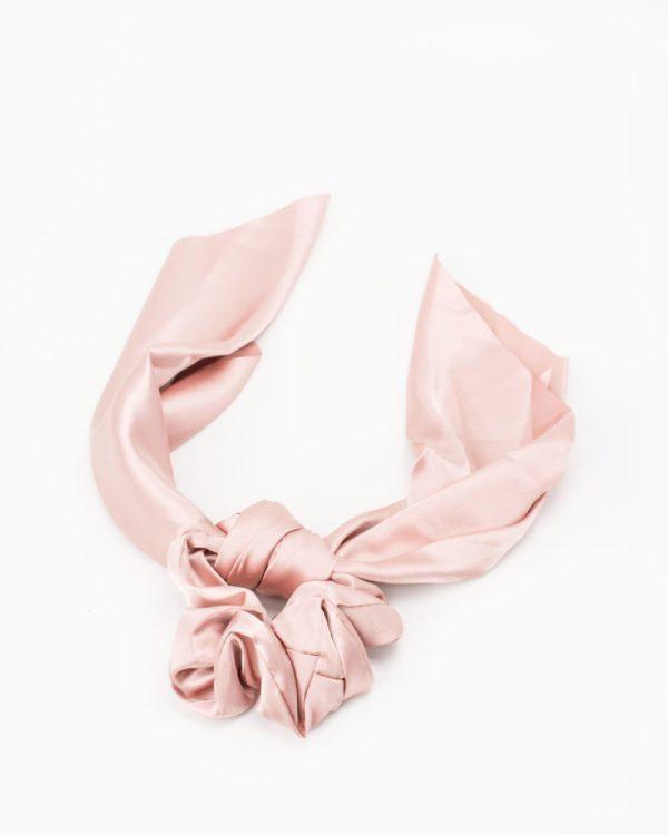 Chouchou foulard satin rose