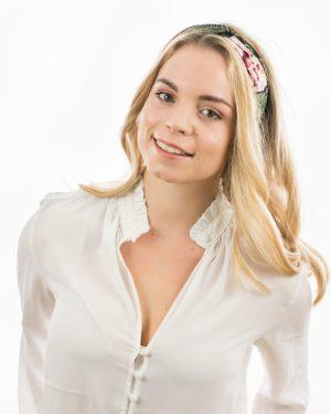 headband cheveux femme rose feuilles et fleurs