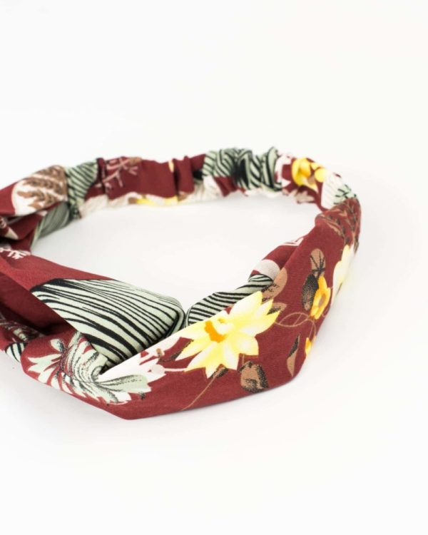 headband rouge bordeaux à motif feuille