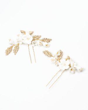 set deux épingles à cheveux mariage avec fleurs blanches en céramique