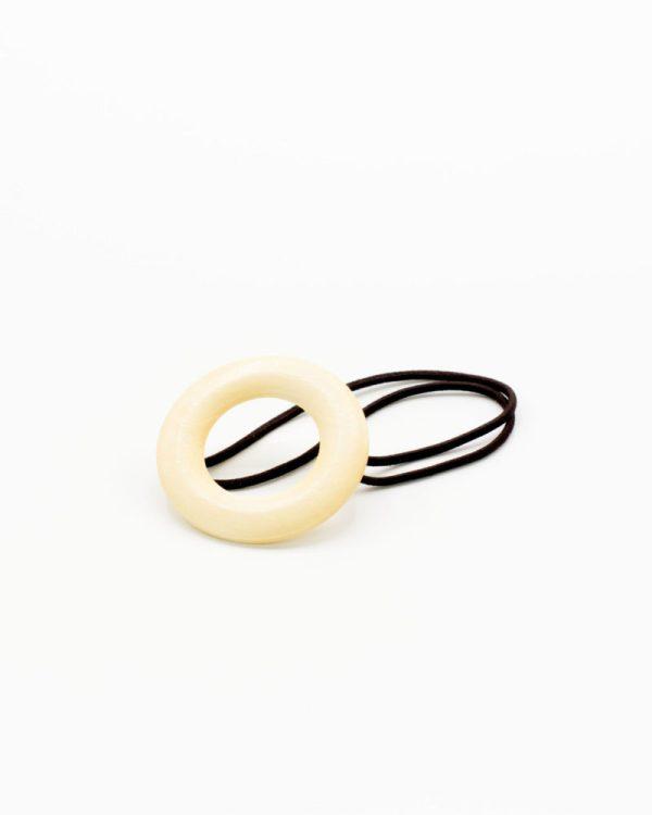 élastique cheveux cercle bois beige