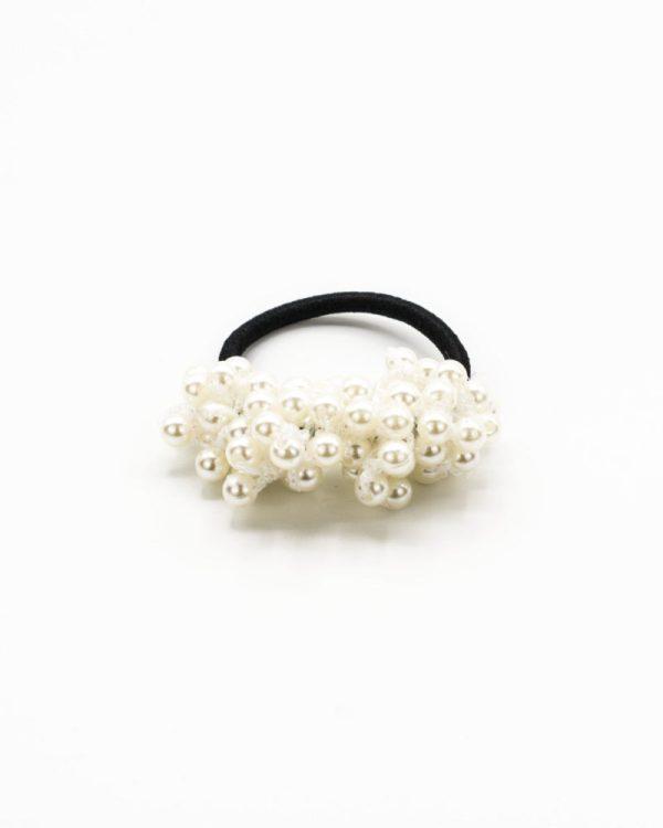 élastique cheveux perles blanches pour femme