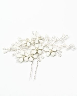 épingle cheveux mariage fleurs blanches métal