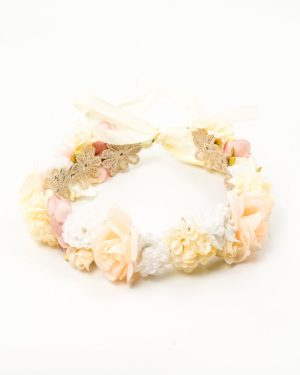 Couronne de fleurs mariée avec fleurs blanches et roses