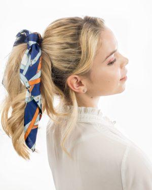 Chouchou foulard satin bleu et orange