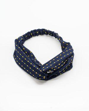 Headband bleu marine à points jaunes pour femme