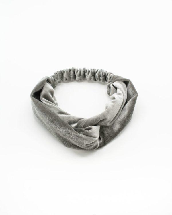 headband en velours gris