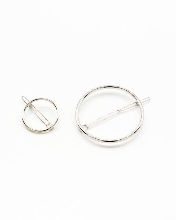 set barrettes cercle argent