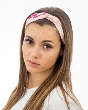 Bandeau cheveux femme rose à fleurs fuchsia