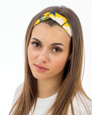 bandeau pour femme jaune à motif feuilles