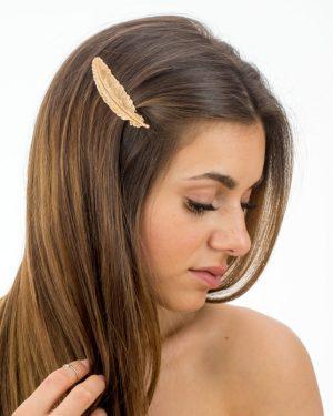 Barrette cheveux femme longue plume dorée