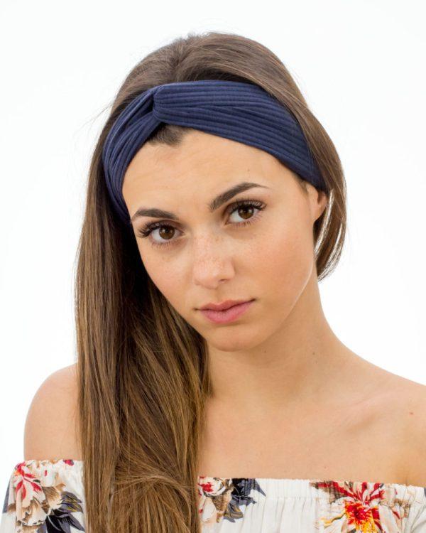 Headband femme bleu marine uni