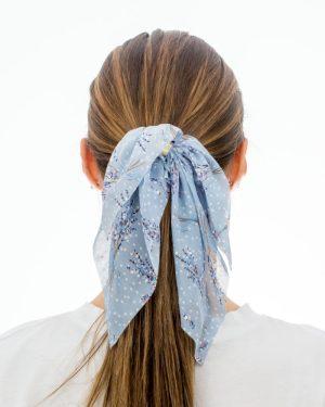 noeud pour cheveux XXL bleu à fleurs