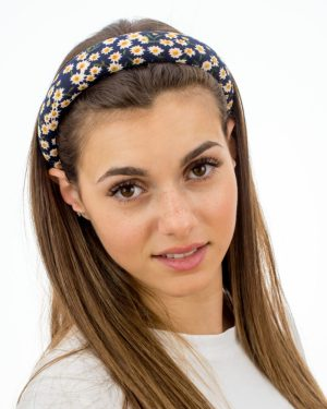 Serre tête femme bleu à fleurs blanches