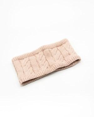 headband tricot rose poudré à doublure fourrure