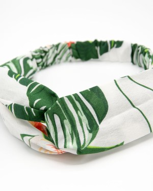 Bandeau cheveux blanc tropical