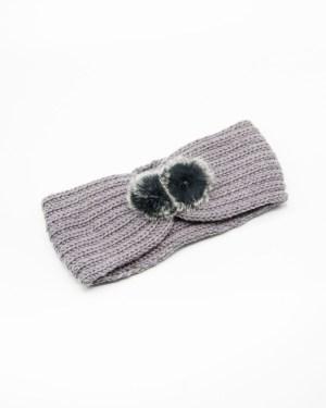 Bandeau cheveux en tricot gris fausse fourrure