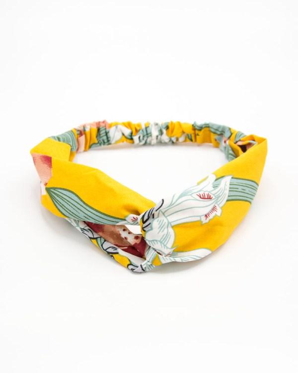 Bandeau cheveux femme jaune à motif végétal
