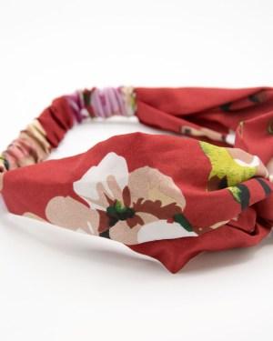 Bandeau cheveux rouge à fleurs