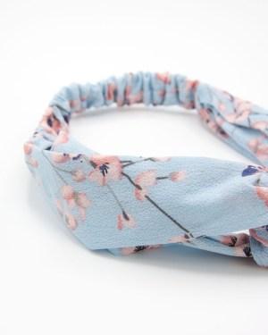 Bandeau de tête bleu à fleurs roses
