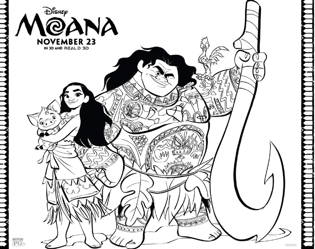 Free Moana Coloring Pages: Download Printables Here #Moana