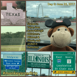 Day 2 of our road trip started in Texas. We then drove through Oklahoma, Missouri, Illinois, Indiana, and ended in Kentucky. Photo credits: Krista