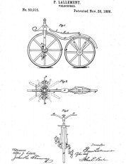 """Velocipede""; Utility Pat. No. 59,915; Issued Nov. 20, 1866. Source: www.bing.com."