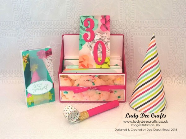 Stampin' Up! products for party hats, party blowers, party bags, gift card holders and a box to store the narrow note cards and gift card holders - by Lady Dee Crafts