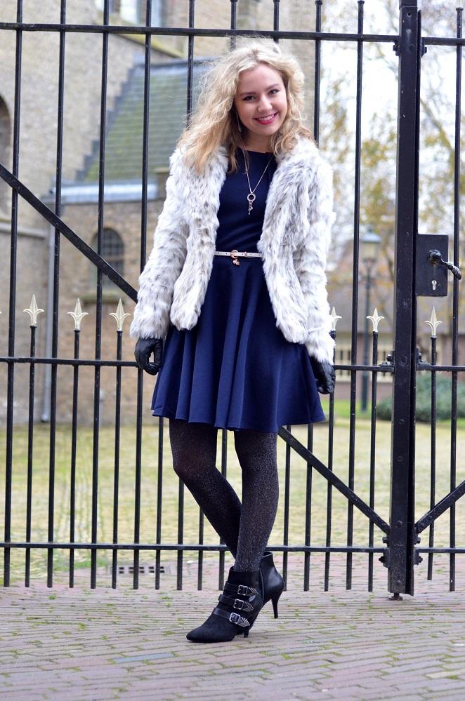 Kerst Outfit, Bontjas, Fake Fur Coat, Winter Coat, Ladygoldapple, Dress