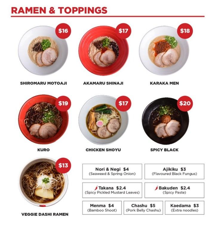 Ippudo ramen menu
